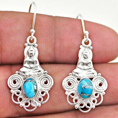 3.13cts blue copper turquoise 925 sterling silver buddha charm earrings t46973