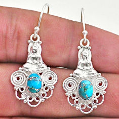 3.14cts blue copper turquoise 925 sterling silver buddha charm earrings t46977