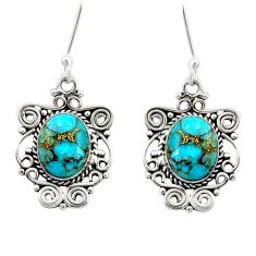 Clearance Sale- 8.28cts blue copper turquoise 925 sterling silver dangle earrings jewelry d41191