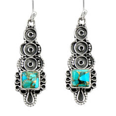 Clearance Sale- 3.32cts blue copper turquoise 925 sterling silver dangle earrings jewelry d41219