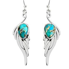 5.50cts blue copper turquoise 925 sterling silver dangle earrings jewelry r19782