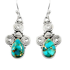 3.83cts blue copper turquoise 925 sterling silver dangle earrings jewelry r19864