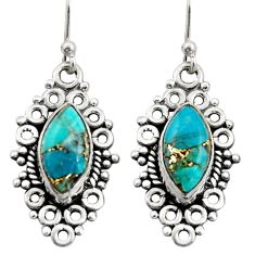 9.18cts blue copper turquoise 925 sterling silver dangle earrings jewelry r21725