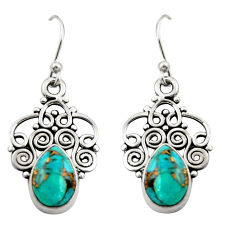 4.69cts blue copper turquoise 925 sterling silver dangle earrings jewelry r21729