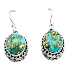 7.48cts blue copper turquoise 925 sterling silver dangle earrings jewelry r21849