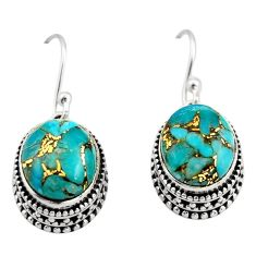 7.72cts blue copper turquoise 925 sterling silver dangle earrings jewelry r21855
