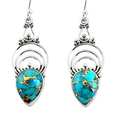 8.69cts blue copper turquoise 925 sterling silver dangle earrings jewelry r30876