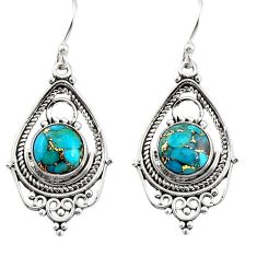6.27cts blue copper turquoise 925 sterling silver dangle earrings jewelry r30911