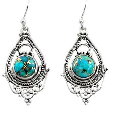 6.29cts blue copper turquoise 925 sterling silver dangle earrings jewelry r30912