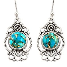 6.21cts blue copper turquoise 925 sterling silver dangle earrings jewelry r31113