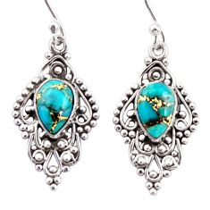 4.43cts blue copper turquoise 925 sterling silver dangle earrings jewelry r31260