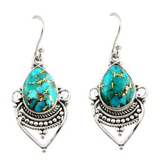7.15cts blue copper turquoise 925 sterling silver dangle earrings jewelry r42314