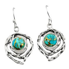 6.23cts blue copper turquoise 925 sterling silver dangle earrings jewelry r42867