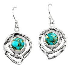 6.08cts blue copper turquoise 925 sterling silver dangle earrings jewelry r42868