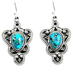 4.71cts blue copper turquoise 925 sterling silver dangle earrings jewelry r54088