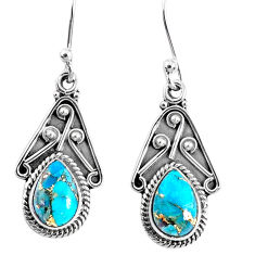 4.18cts blue copper turquoise 925 sterling silver dangle earrings jewelry r67023