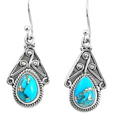 4.18cts blue copper turquoise 925 sterling silver dangle earrings jewelry r67024