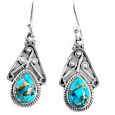 4.18cts blue copper turquoise 925 sterling silver dangle earrings jewelry r67049