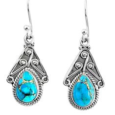 4.18cts blue copper turquoise 925 sterling silver dangle earrings jewelry r67050