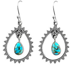 4.02cts blue copper turquoise 925 sterling silver dangle earrings jewelry r67067