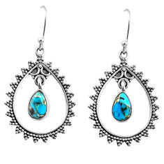 3.82cts blue copper turquoise 925 sterling silver dangle earrings jewelry r67070