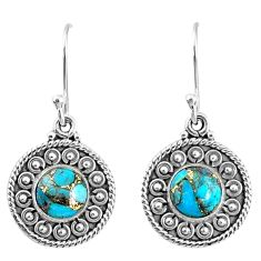 4.92cts blue copper turquoise 925 sterling silver dangle earrings jewelry r67108