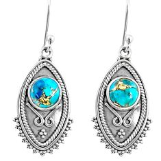 4.69cts blue copper turquoise 925 sterling silver dangle earrings jewelry r67167