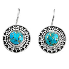 5.39cts blue copper turquoise 925 sterling silver dangle earrings jewelry r67190