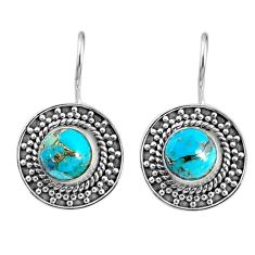 5.34cts blue copper turquoise 925 sterling silver dangle earrings jewelry r67191