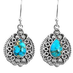 4.02cts blue copper turquoise 925 sterling silver dangle earrings jewelry r67206