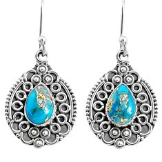 3.99cts blue copper turquoise 925 sterling silver dangle earrings jewelry r67207