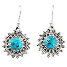 4.51cts blue copper turquoise 925 sterling silver dangle earrings jewelry r68382