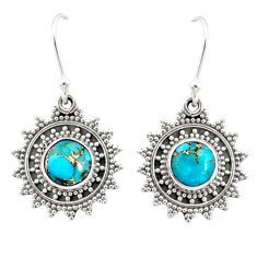 4.52cts blue copper turquoise 925 sterling silver dangle earrings jewelry r68383
