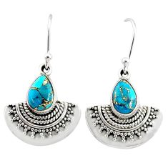 4.37cts blue copper turquoise 925 sterling silver dangle earrings jewelry r68406