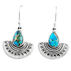 4.37cts blue copper turquoise 925 sterling silver dangle earrings jewelry r68407