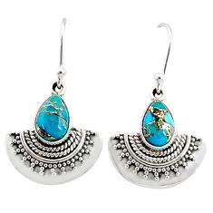 4.37cts blue copper turquoise 925 sterling silver dangle earrings jewelry r68408