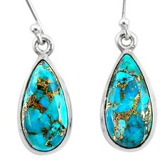 9.37cts blue copper turquoise 925 sterling silver dangle earrings jewelry t23786