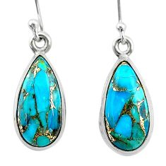 8.56cts blue copper turquoise 925 sterling silver dangle earrings jewelry t23789