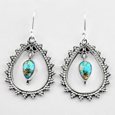 3.56cts blue copper turquoise 925 sterling silver dangle earrings jewelry t27010