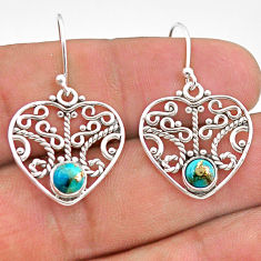 1.84cts blue copper turquoise 925 sterling silver dangle earrings jewelry t28189
