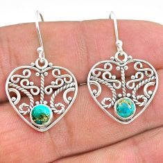 1.84cts blue copper turquoise 925 sterling silver dangle earrings jewelry t28191