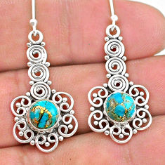3.14cts blue copper turquoise 925 sterling silver dangle earrings jewelry t28235