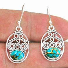 3.93cts blue copper turquoise 925 sterling silver dangle earrings jewelry t32822
