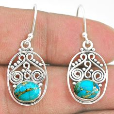 3.82cts blue copper turquoise 925 sterling silver dangle earrings jewelry t32823
