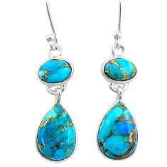 8.09cts blue copper turquoise 925 sterling silver dangle earrings jewelry t33968