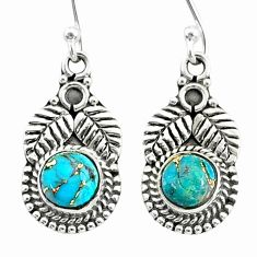 1.62cts blue copper turquoise 925 sterling silver dangle earrings jewelry t35974
