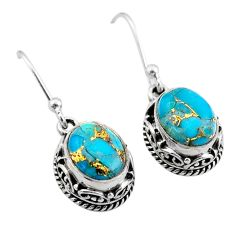 5.82cts blue copper turquoise 925 sterling silver dangle earrings jewelry t46801