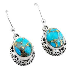 6.10cts blue copper turquoise 925 sterling silver dangle earrings jewelry t46803