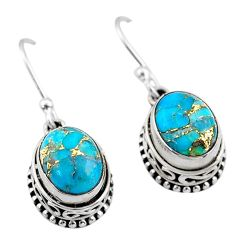 6.01cts blue copper turquoise 925 sterling silver dangle earrings jewelry t46825