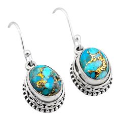 6.10cts blue copper turquoise 925 sterling silver dangle earrings jewelry t46826